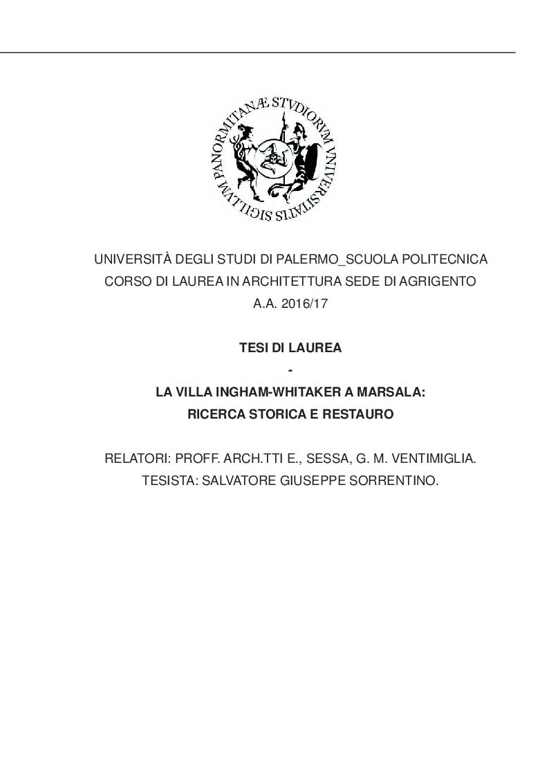 Anteprima della tesi: La Villa Ingham-Whitaker a Marsala: ricerca storica e restauro, Pagina 1
