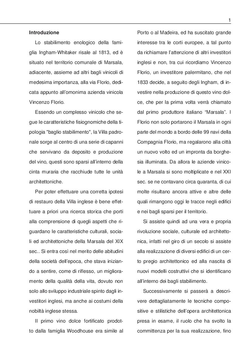Anteprima della tesi: La Villa Ingham-Whitaker a Marsala: ricerca storica e restauro, Pagina 2