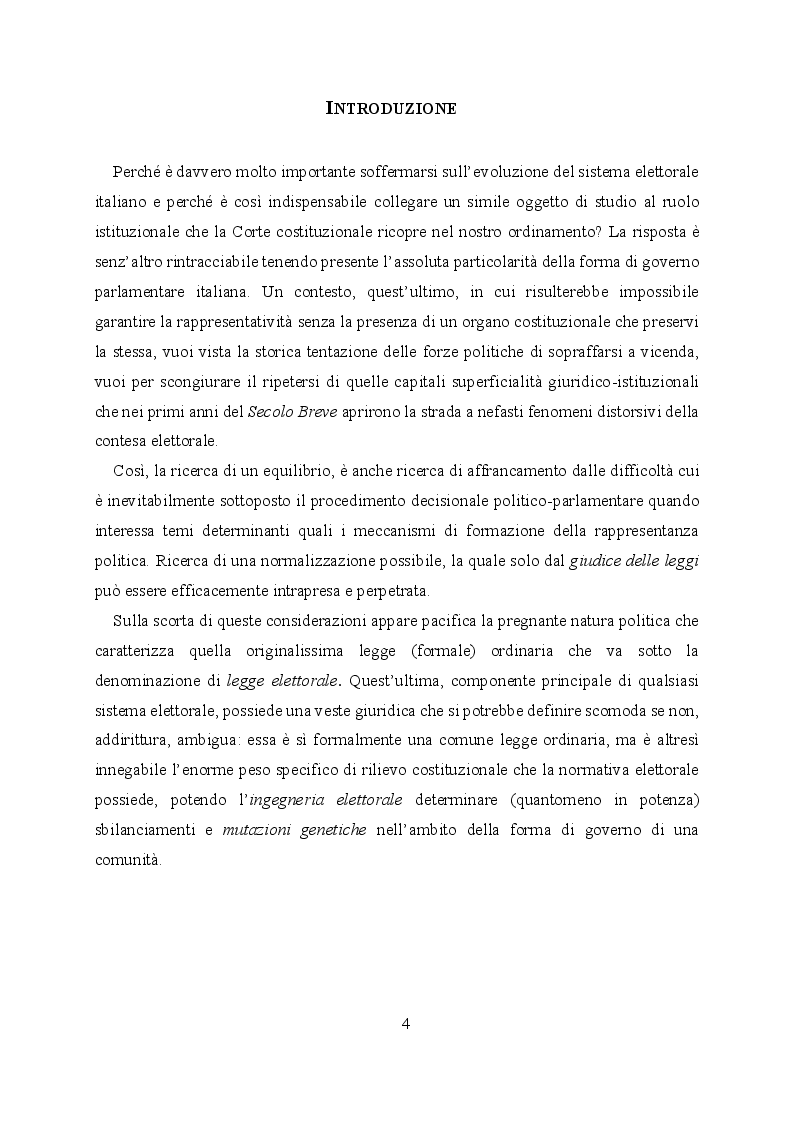 Anteprima della tesi: L'evoluzione del sistema elettorale nell'ordinamento costituzionale italiano. Il ruolo della Corte costituzionale, Pagina 2