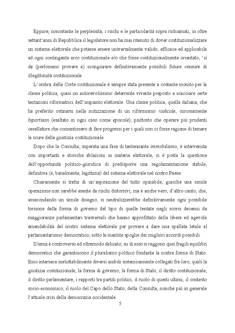 Anteprima della tesi: L'evoluzione del sistema elettorale nell'ordinamento costituzionale italiano. Il ruolo della Corte costituzionale, Pagina 3