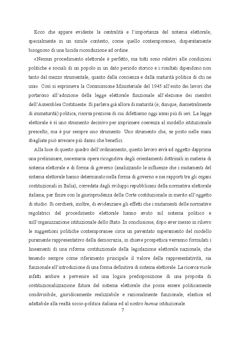Anteprima della tesi: L'evoluzione del sistema elettorale nell'ordinamento costituzionale italiano. Il ruolo della Corte costituzionale, Pagina 5