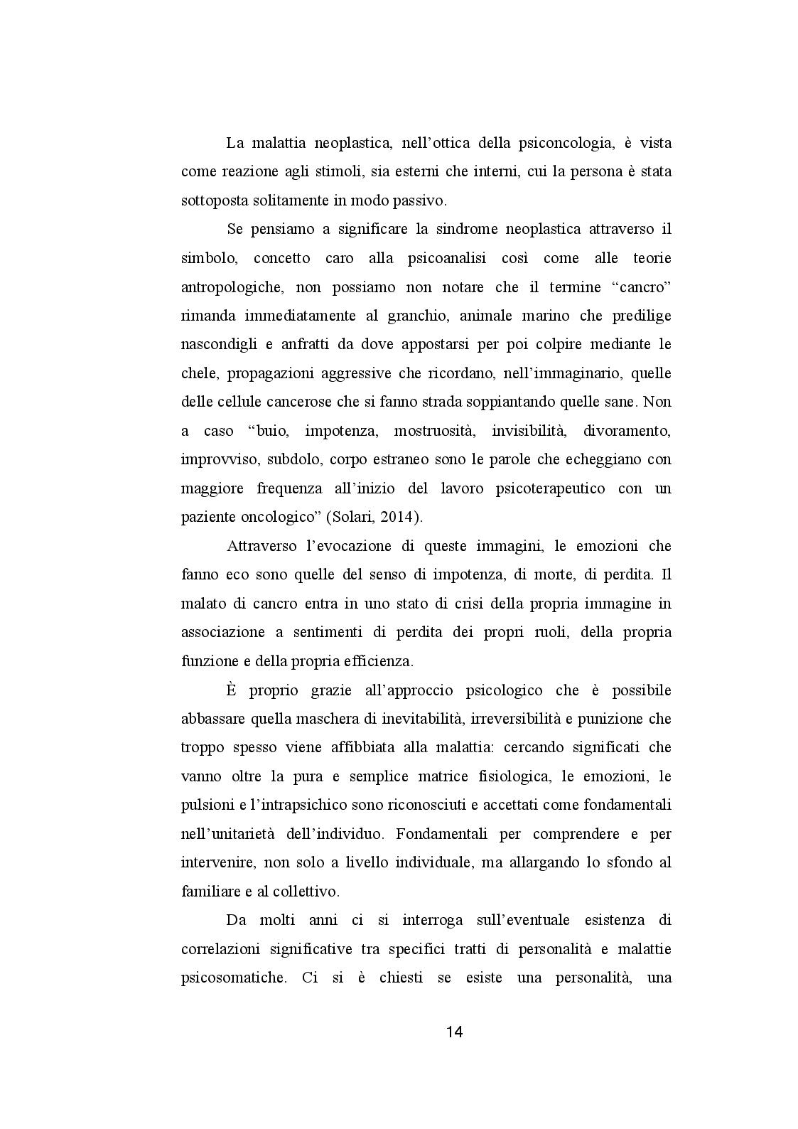 Estratto dalla tesi: CANCRO ED EMOZIONI. Implicazioni psicologiche e socio-relazionali nella sindrome psiconeoplastica