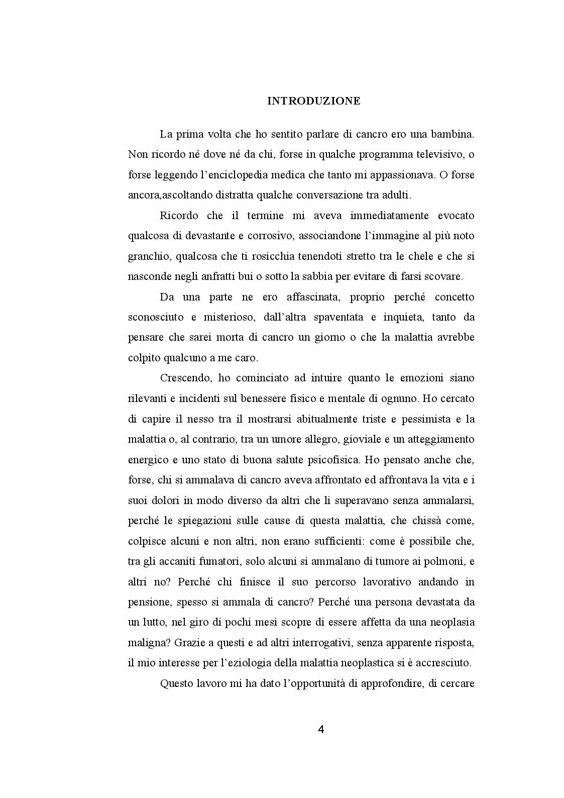 Anteprima della tesi: CANCRO ED EMOZIONI. Implicazioni psicologiche e socio-relazionali nella sindrome psiconeoplastica, Pagina 2