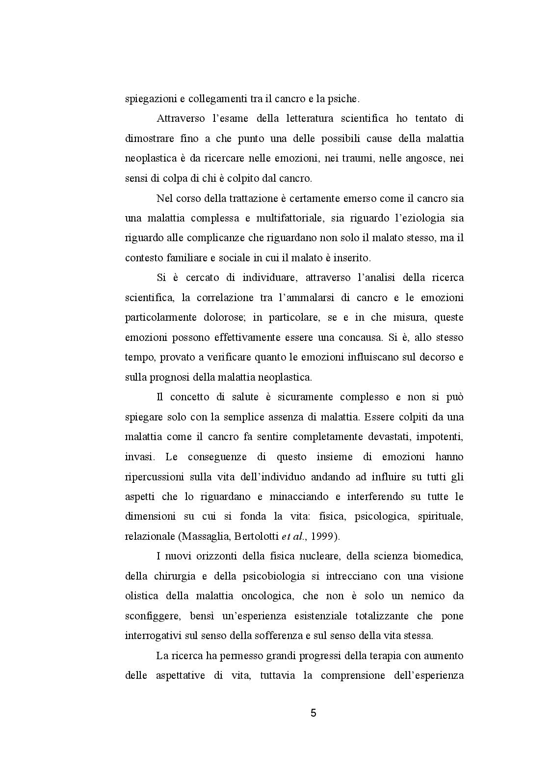 Anteprima della tesi: CANCRO ED EMOZIONI. Implicazioni psicologiche e socio-relazionali nella sindrome psiconeoplastica, Pagina 3