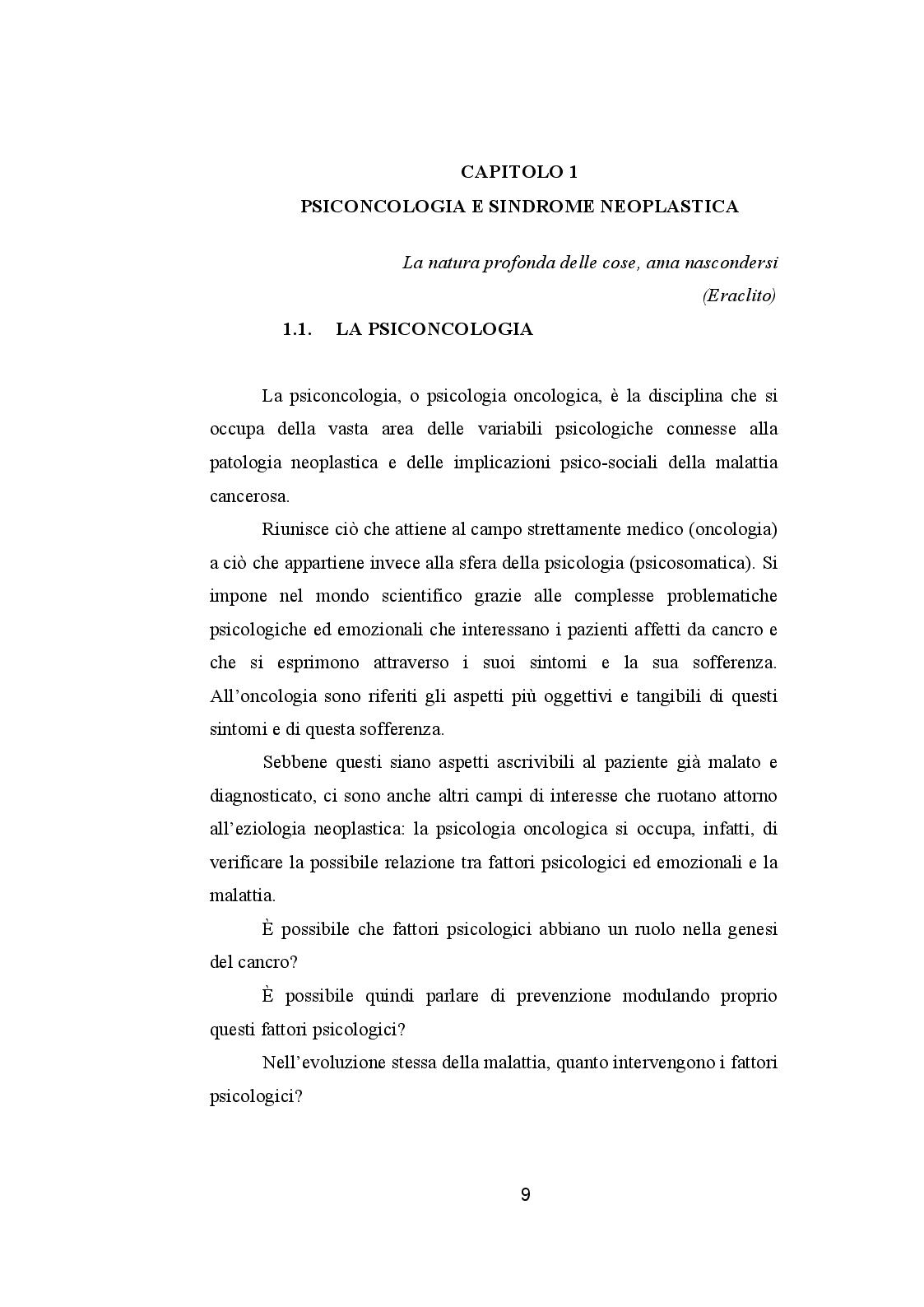 Anteprima della tesi: CANCRO ED EMOZIONI. Implicazioni psicologiche e socio-relazionali nella sindrome psiconeoplastica, Pagina 7