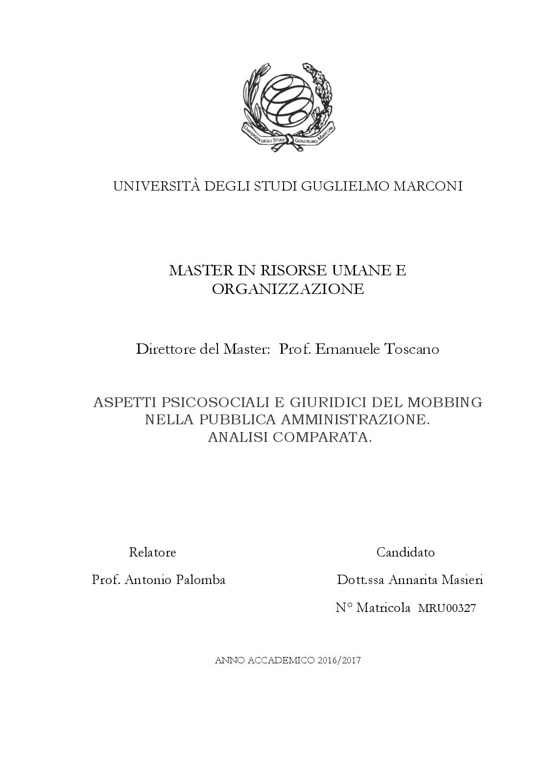 Anteprima della tesi: Aspetti Psicosociali e Girudici del Mobbing nella Pubblica Amministrazione.  Analisi Comparata, Pagina 1