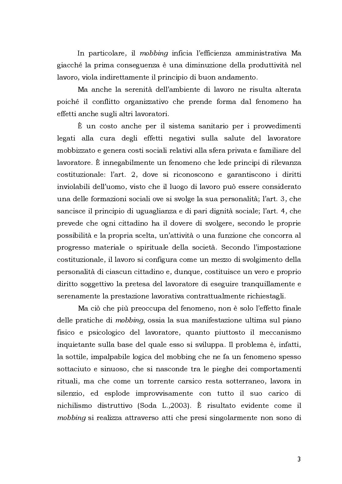 Anteprima della tesi: Aspetti Psicosociali e Girudici del Mobbing nella Pubblica Amministrazione.  Analisi Comparata, Pagina 3