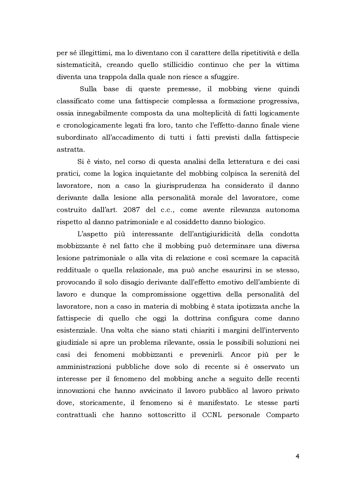 Anteprima della tesi: Aspetti Psicosociali e Girudici del Mobbing nella Pubblica Amministrazione.  Analisi Comparata, Pagina 4