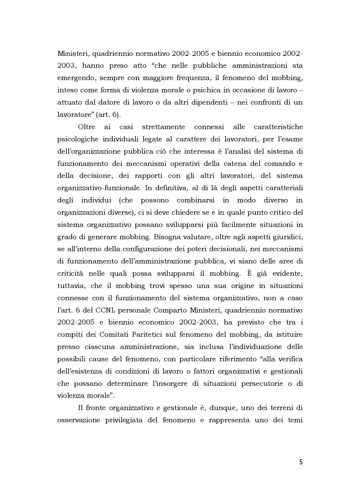 Anteprima della tesi: Aspetti Psicosociali e Girudici del Mobbing nella Pubblica Amministrazione.  Analisi Comparata, Pagina 5