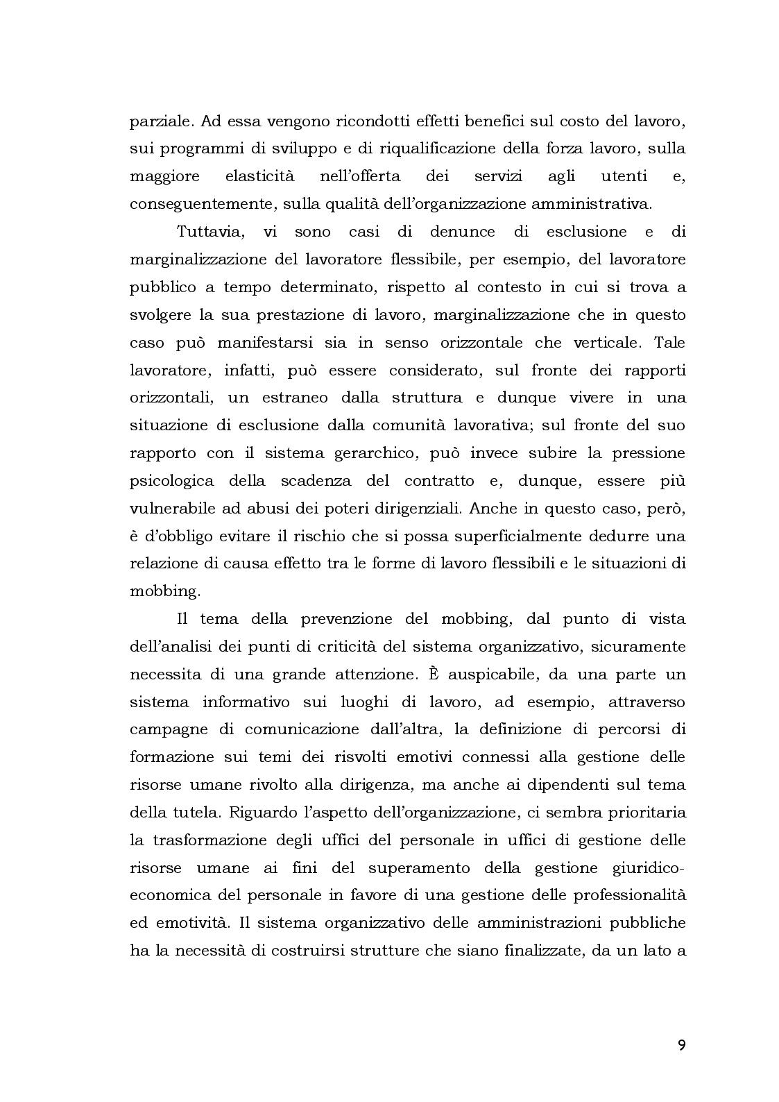 Anteprima della tesi: Aspetti Psicosociali e Girudici del Mobbing nella Pubblica Amministrazione.  Analisi Comparata, Pagina 9