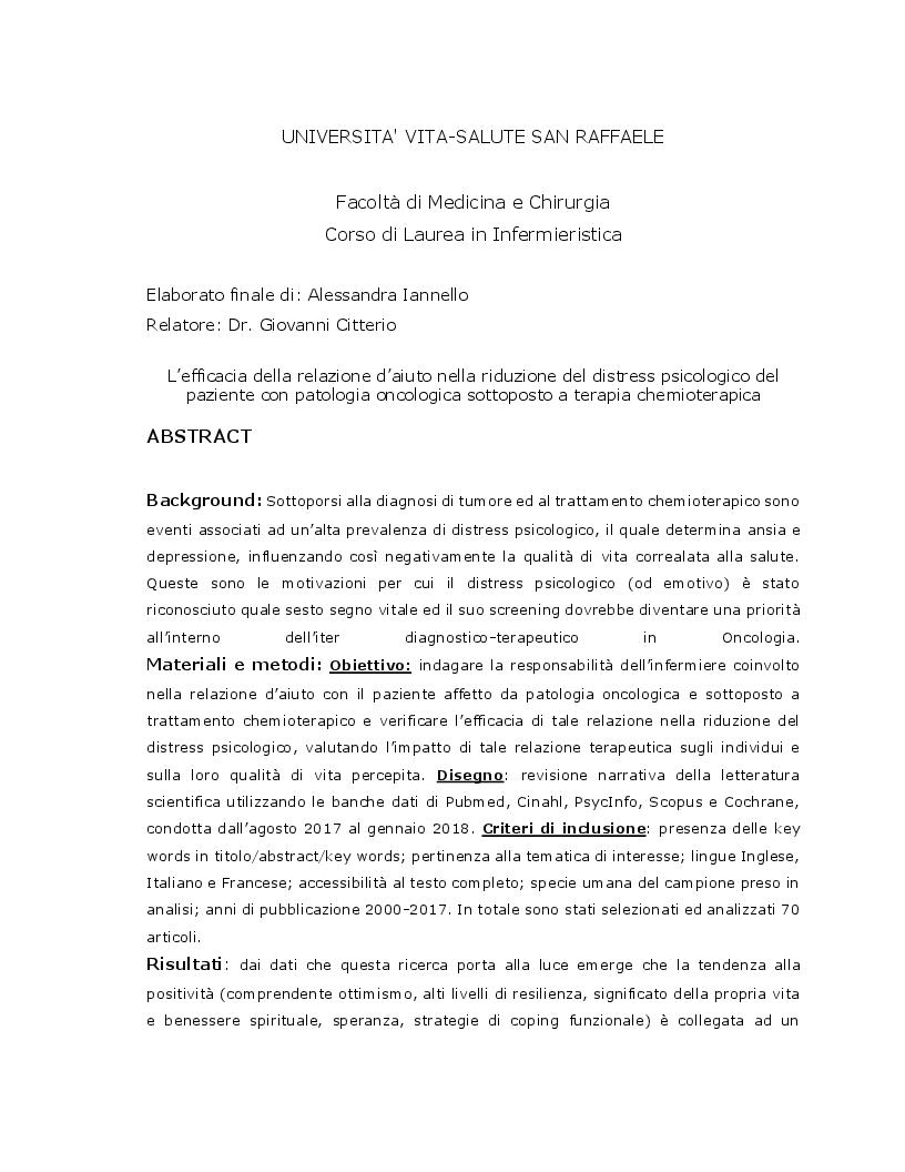 Anteprima della tesi: L'efficacia della relazione d'aiuto nella riduzione del distress psicologico del paziente con patologia oncologica sottoposto a terapia chemioterapica, Pagina 2