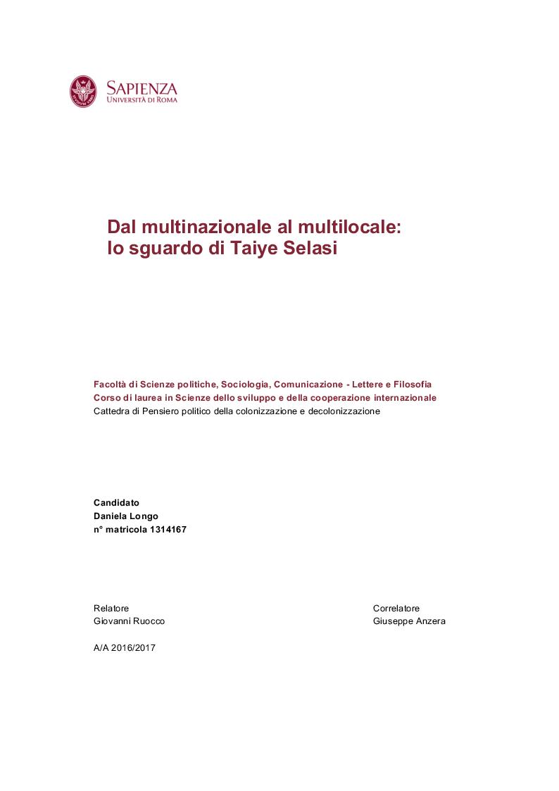 Anteprima della tesi: Dal multinazionale al multilocale: lo sguardo di Taiye Selasi , Pagina 1