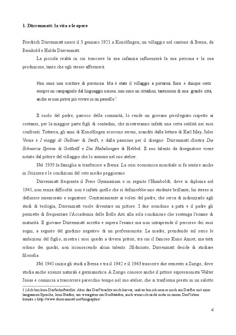 Anteprima della tesi: L'importanza del caso. La vita secondo Friedrich Dürrenmatt., Pagina 4