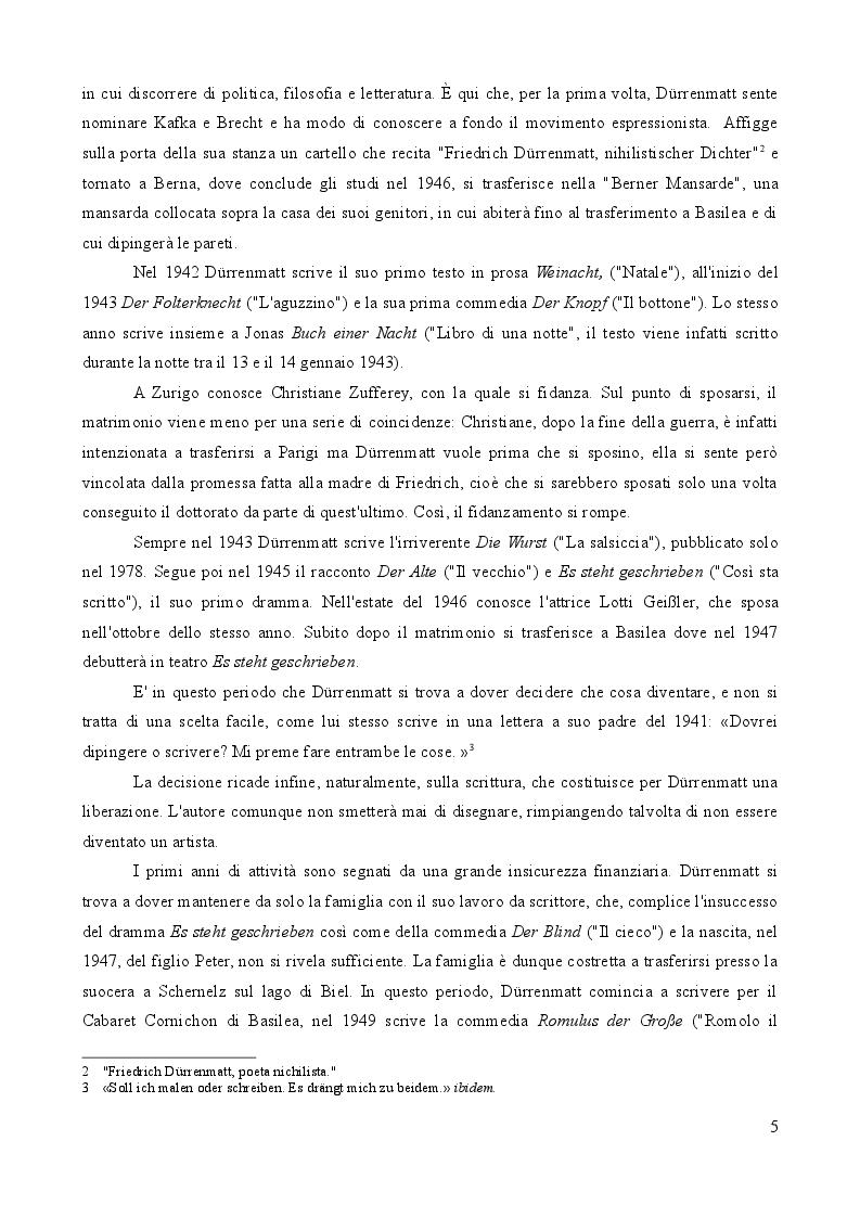Anteprima della tesi: L'importanza del caso. La vita secondo Friedrich Dürrenmatt., Pagina 5