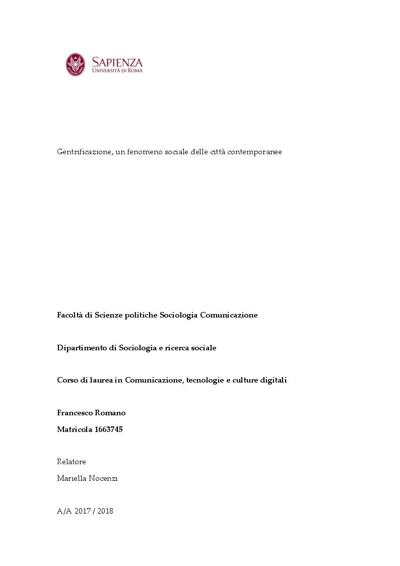 Anteprima della tesi: Gentrification, un fenomeno sociale delle città contemporanee, Pagina 1
