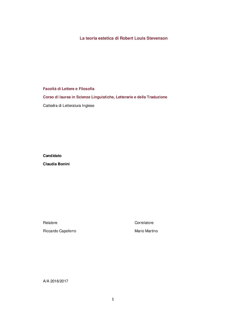 Anteprima della tesi: La teoria estetica di Robert Louis Stevenson, Pagina 1