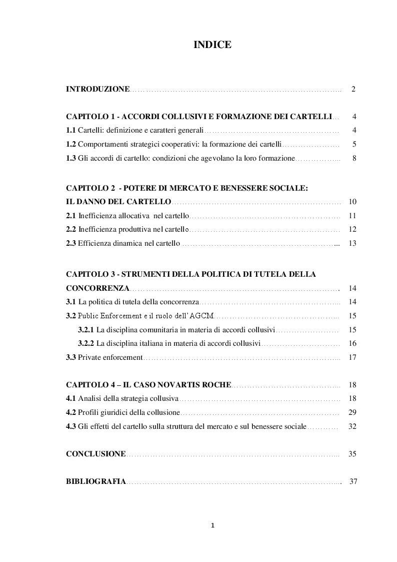 Indice della tesi: Formazione dei cartelli e strumenti di tutela della concorrenza. Il caso Novartis Roche, Pagina 1