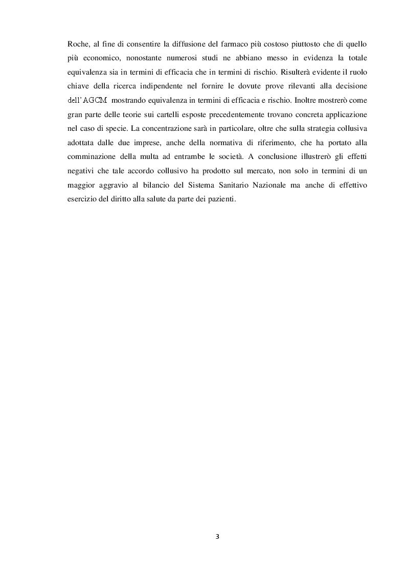 Anteprima della tesi: Formazione dei cartelli e strumenti di tutela della concorrenza. Il caso Novartis Roche, Pagina 3