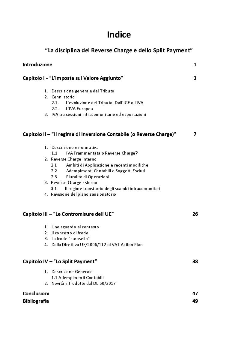 Indice della tesi: La disciplina del Reverse Charge e dello Split Payment, Pagina 1