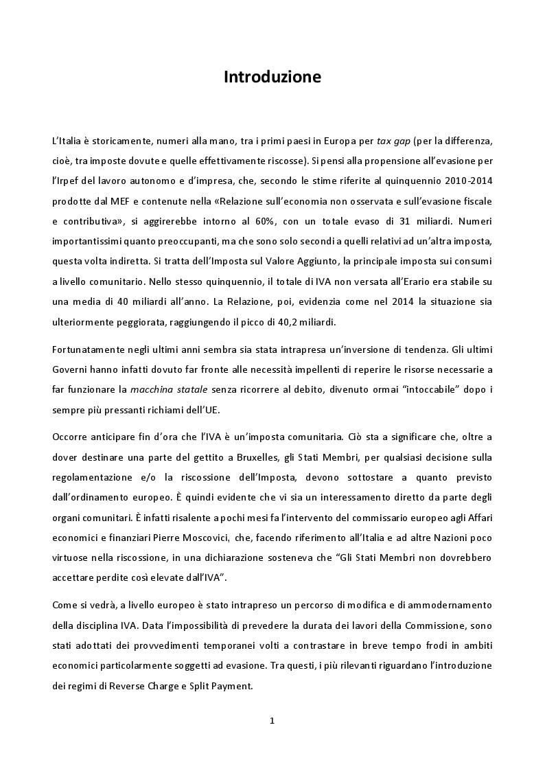 Anteprima della tesi: La disciplina del Reverse Charge e dello Split Payment, Pagina 2