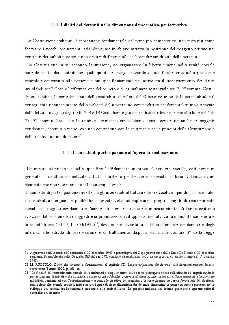 Estratto dalla tesi: L'affidamento in Prova al Servizio Sociale: Profili Partecipativi e Giuridici