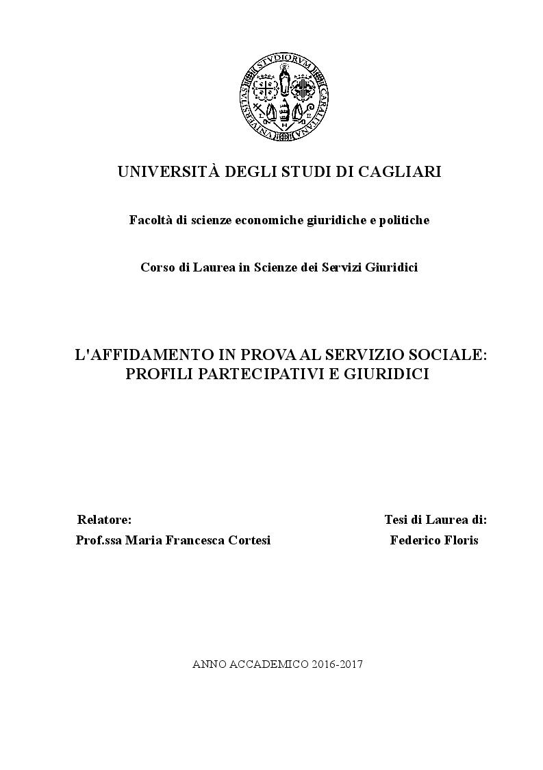 Anteprima della tesi: L'affidamento in Prova al Servizio Sociale: Profili Partecipativi e Giuridici, Pagina 1