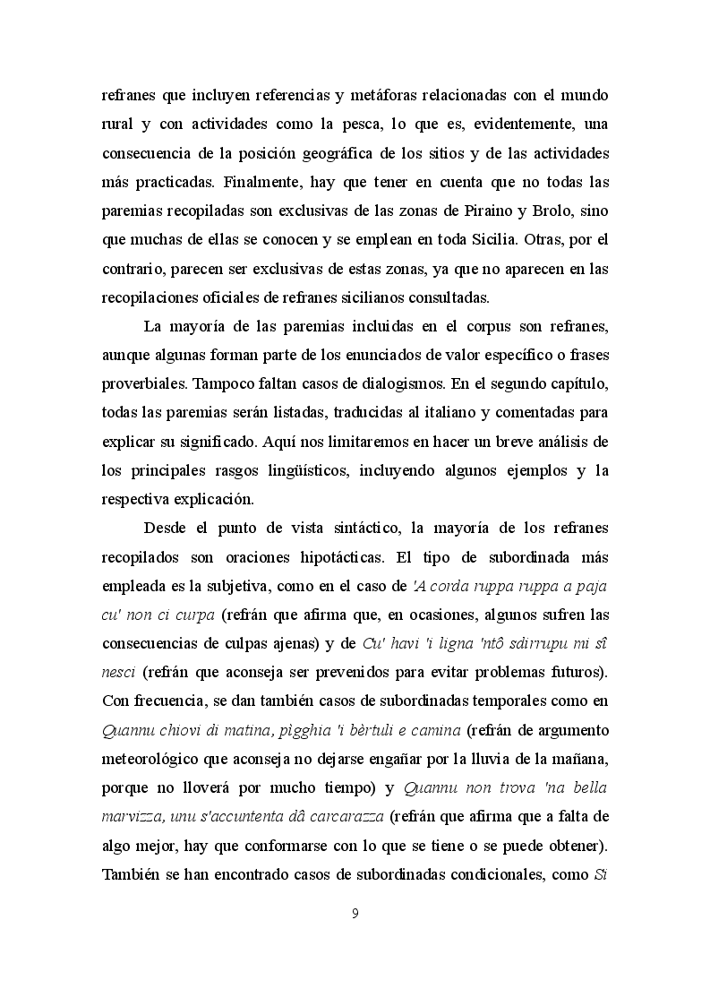 Estratto dalla tesi: La paremia come espressione linguistica e culturale. Confronto tra il dialetto siciliano e la lingua spagnola
