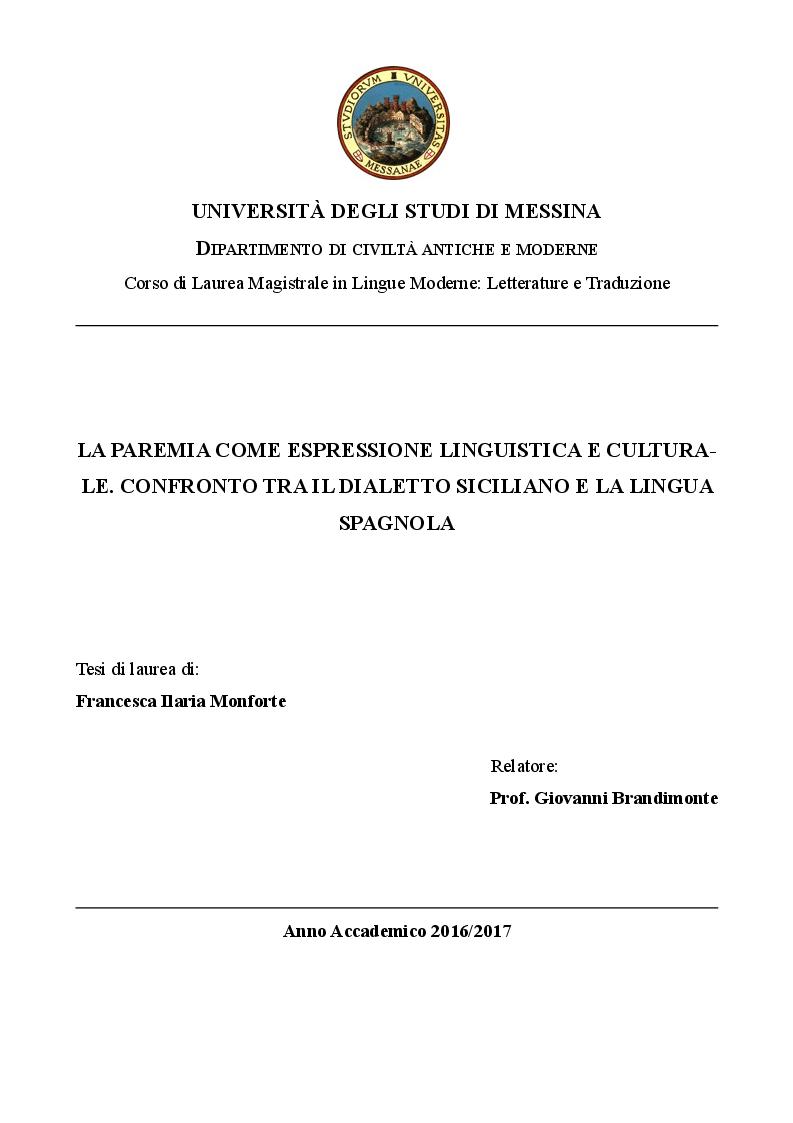 Anteprima della tesi: La paremia come espressione linguistica e culturale. Confronto tra il dialetto siciliano e la lingua spagnola, Pagina 1