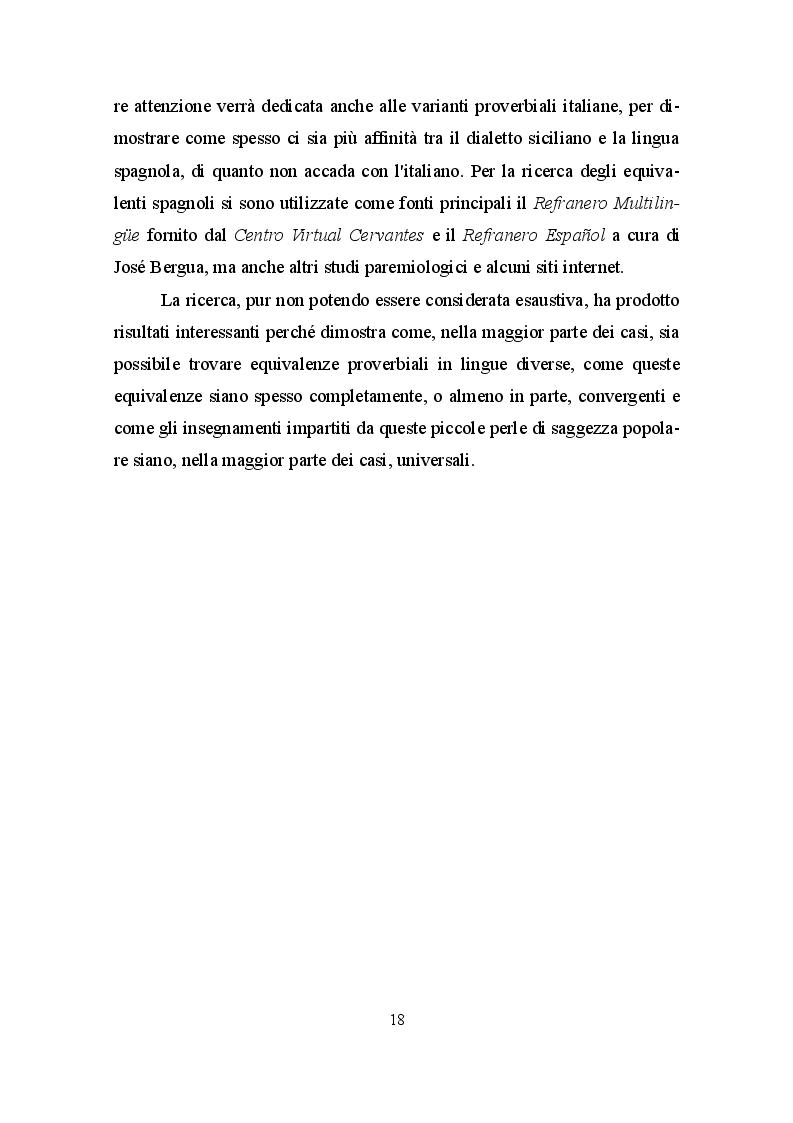 Anteprima della tesi: La paremia come espressione linguistica e culturale. Confronto tra il dialetto siciliano e la lingua spagnola, Pagina 4