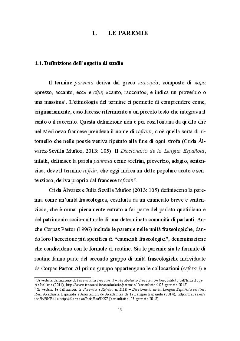 Anteprima della tesi: La paremia come espressione linguistica e culturale. Confronto tra il dialetto siciliano e la lingua spagnola, Pagina 5