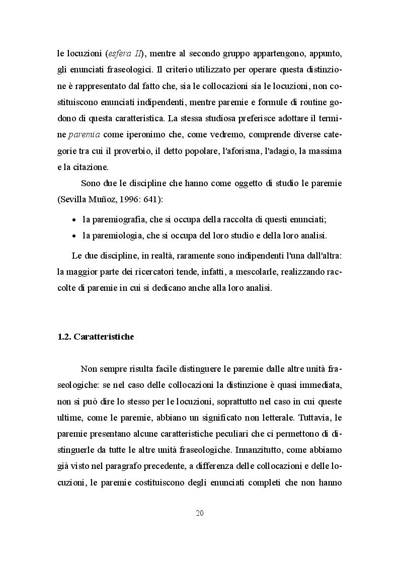 Anteprima della tesi: La paremia come espressione linguistica e culturale. Confronto tra il dialetto siciliano e la lingua spagnola, Pagina 6
