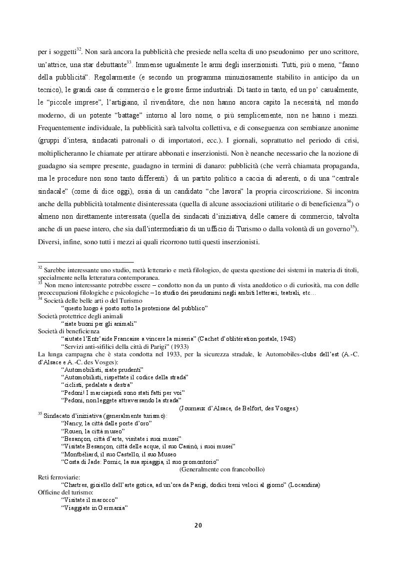 Estratto dalla tesi: La langue de la réclame contemporaine - L'eziologia e la genesi della pubblicità francese degli anni '50 e l'analisi del suo codice pioneristico