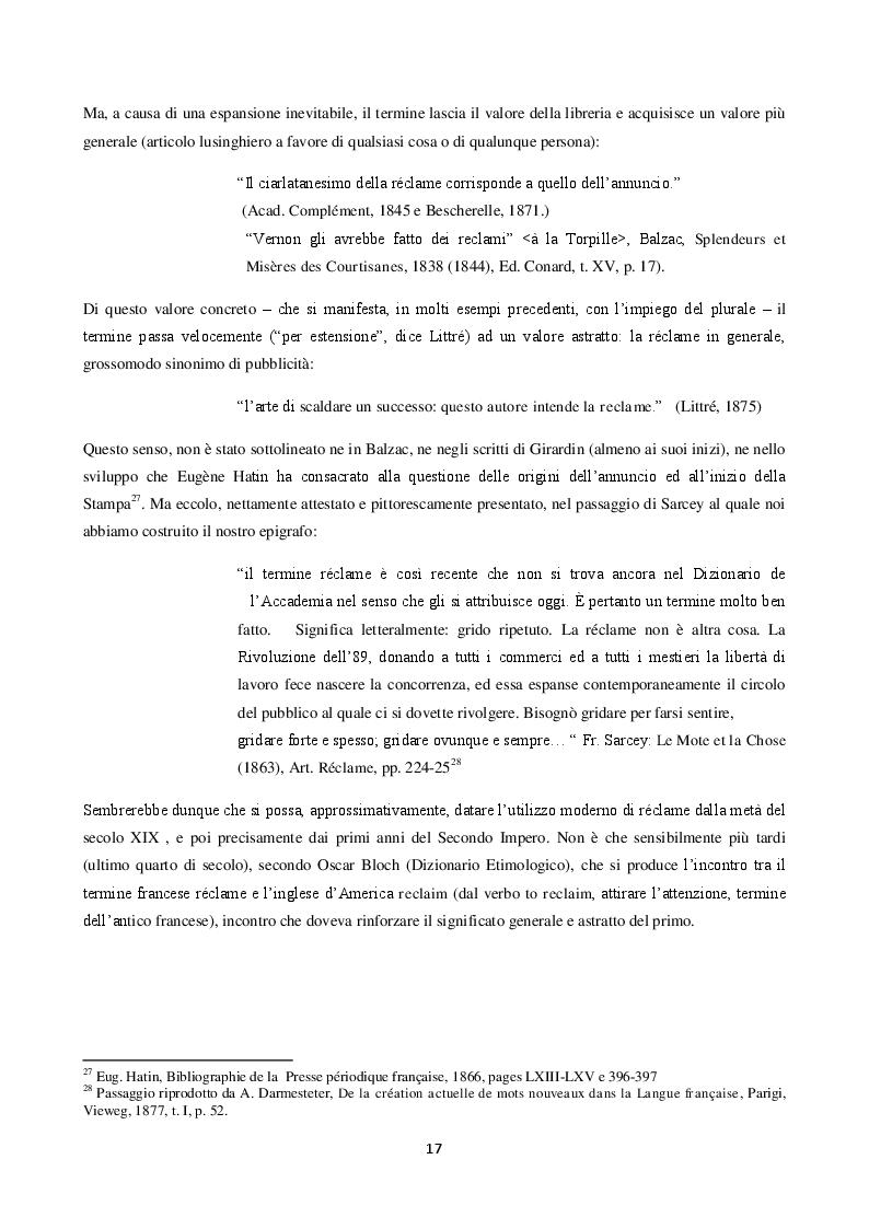 Anteprima della tesi: La langue de la réclame contemporaine - L'eziologia e la genesi della pubblicità francese degli anni '50 e l'analisi del suo codice pioneristico, Pagina 13