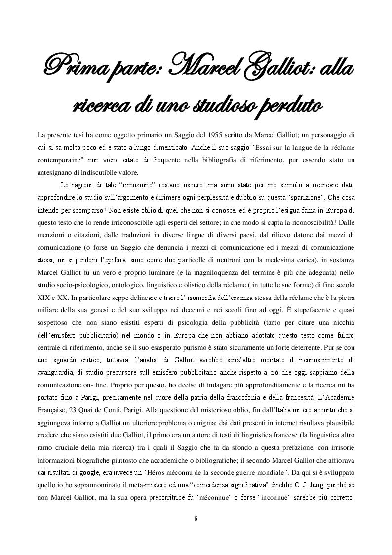 Anteprima della tesi: La langue de la réclame contemporaine - L'eziologia e la genesi della pubblicità francese degli anni '50 e l'analisi del suo codice pioneristico, Pagina 2