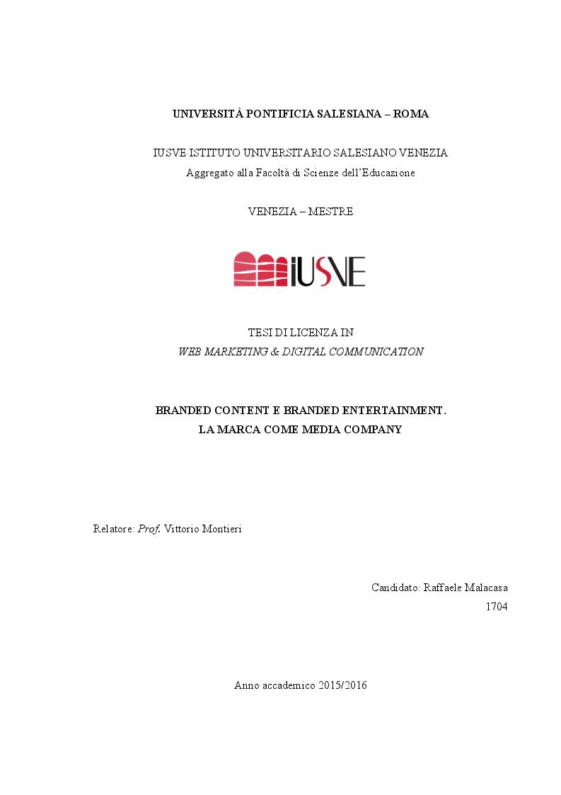 Anteprima della tesi: Branded Content e Branded Entertainment. La marca come Media Company., Pagina 1