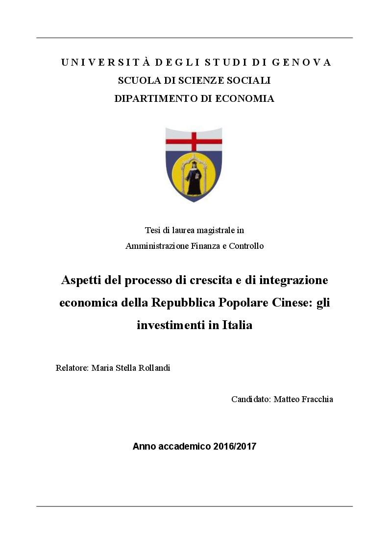 Anteprima della tesi: Aspetti del processo di crescita e di integrazione economica della Repubblica Popolare Cinese: gli investimenti in Italia, Pagina 1