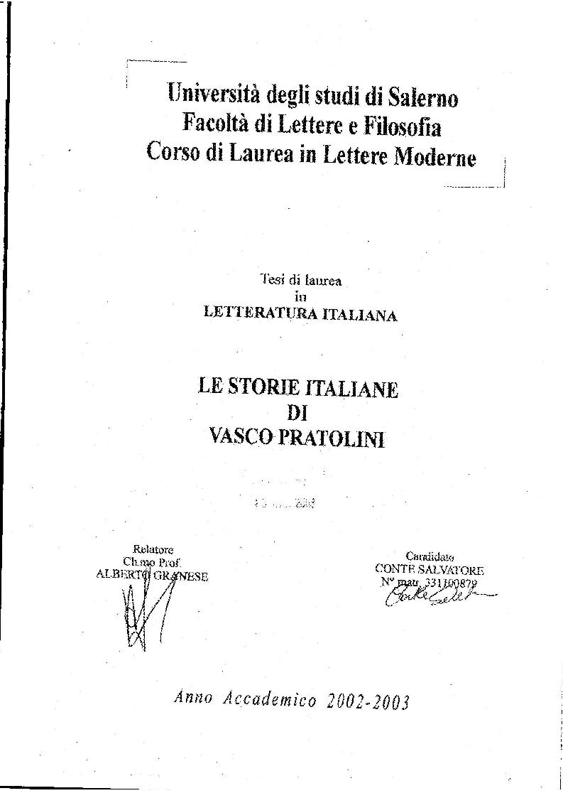 Anteprima della tesi: Le Storie Italiane di Vasco Pratolini, Pagina 1