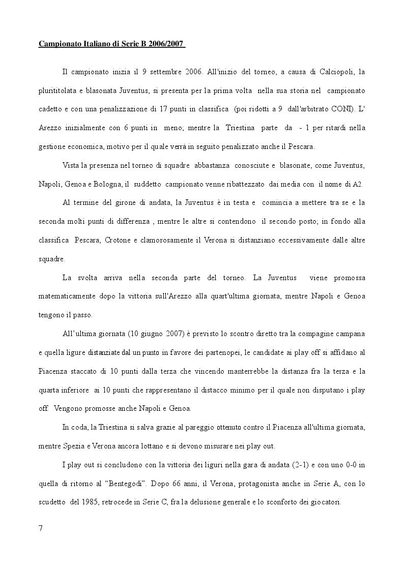 Anteprima della tesi: Analisi Descrittiva sui Campionati Italiani di Calcio di Serie A e B nel Triennio 2006-2009, Pagina 6