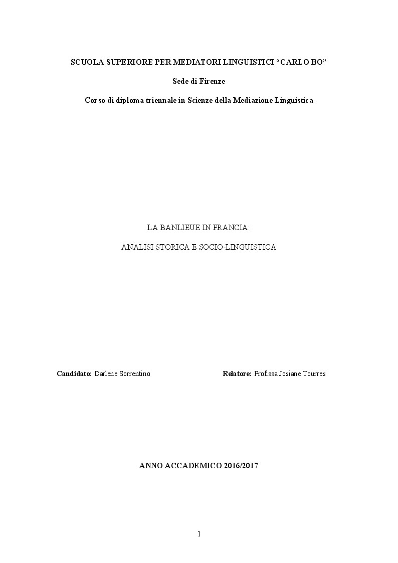 Anteprima della tesi: La banlieue in Francia: analisi storica e socio-linguistica, Pagina 1