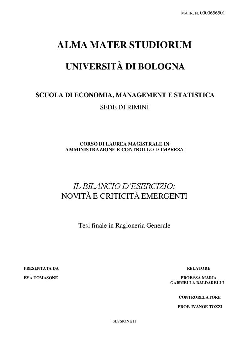 Anteprima della tesi: Il bilancio d'esercizio: novità e criticità emergenti, Pagina 1