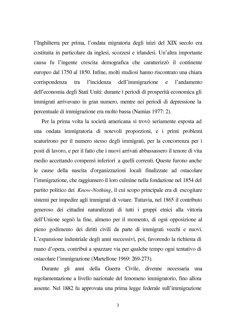 Anteprima della tesi: Linguaggio e condizione femminile nell'America contemporanea: analisi di testi relativi all'immigrazione italiana, Pagina 3