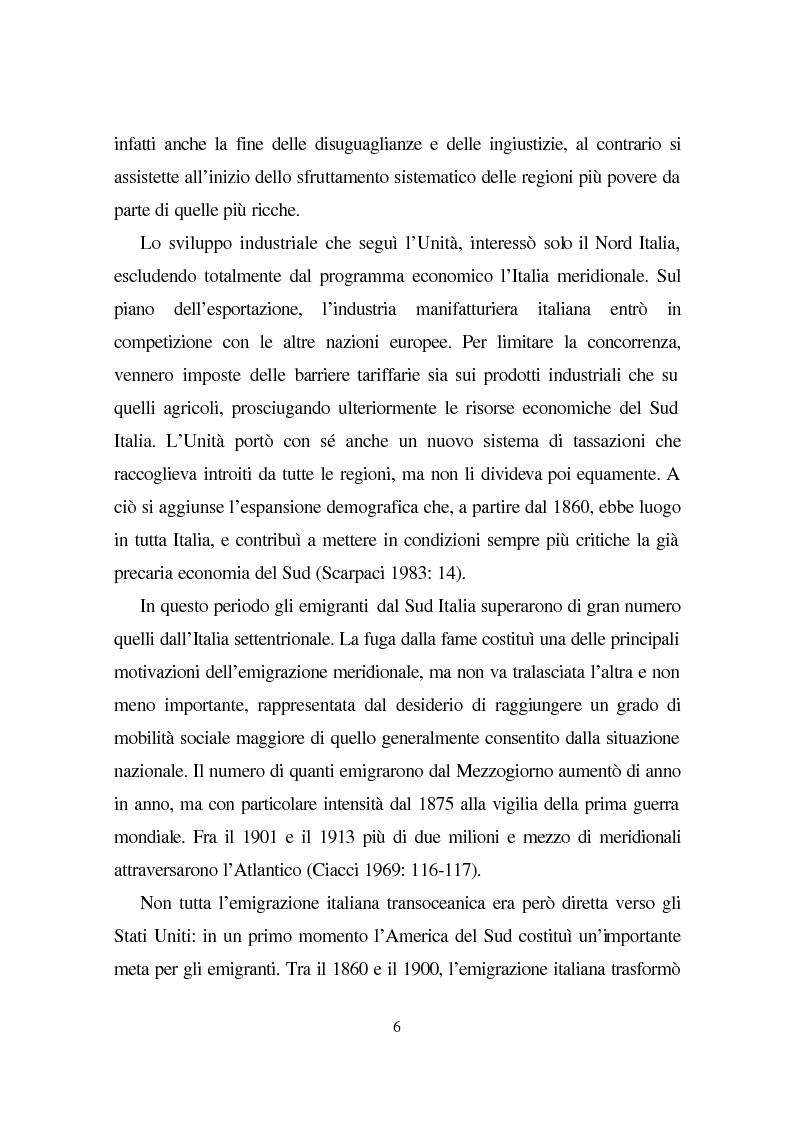 Anteprima della tesi: Linguaggio e condizione femminile nell'America contemporanea: analisi di testi relativi all'immigrazione italiana, Pagina 6