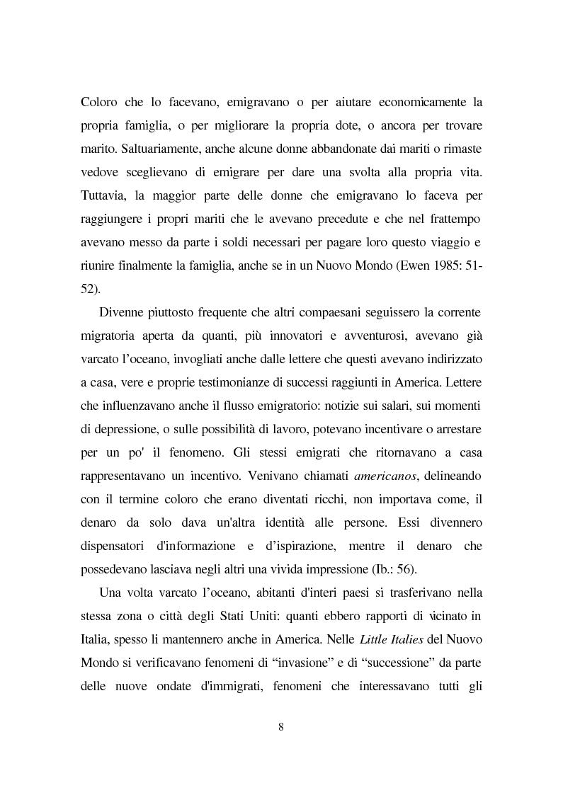 Anteprima della tesi: Linguaggio e condizione femminile nell'America contemporanea: analisi di testi relativi all'immigrazione italiana, Pagina 8