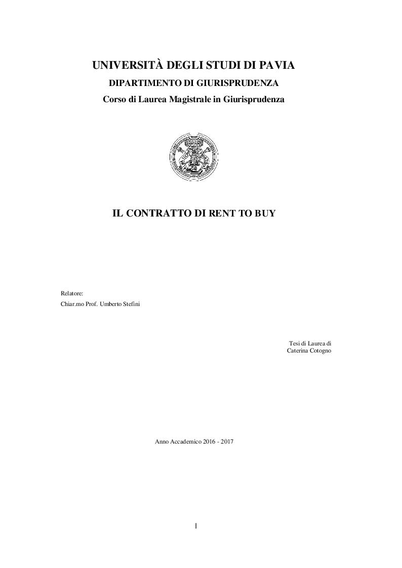 Anteprima della tesi: Il contratto di rent to buy, Pagina 1