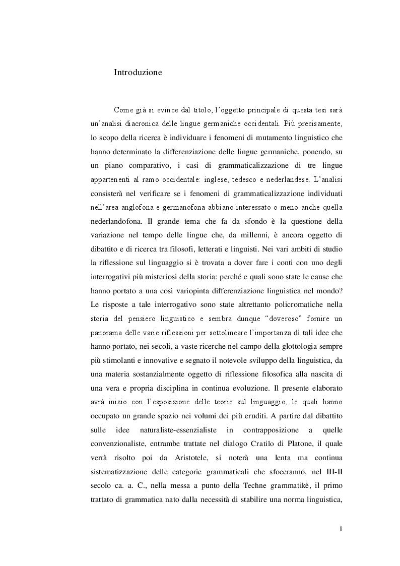 Anteprima della tesi: Ricerca e analisi dei casi di grammaticalizzazione nelle lingue germaniche occidentali: inglese, tedesco e nederlandese a confronto., Pagina 2