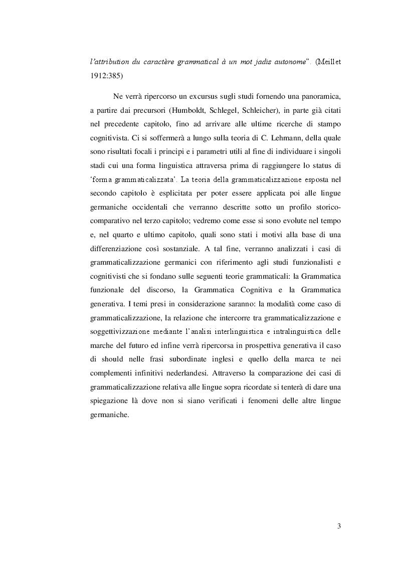 Anteprima della tesi: Ricerca e analisi dei casi di grammaticalizzazione nelle lingue germaniche occidentali: inglese, tedesco e nederlandese a confronto., Pagina 4