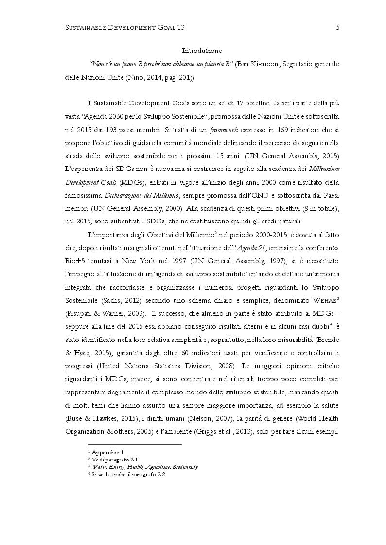 """Anteprima della tesi: Sustainable Development Goal 13: """"Promuovere azioni, a tutti i livelli, per combattere il cambiamento climatico"""". Prospettive per il 2030, Pagina 3"""