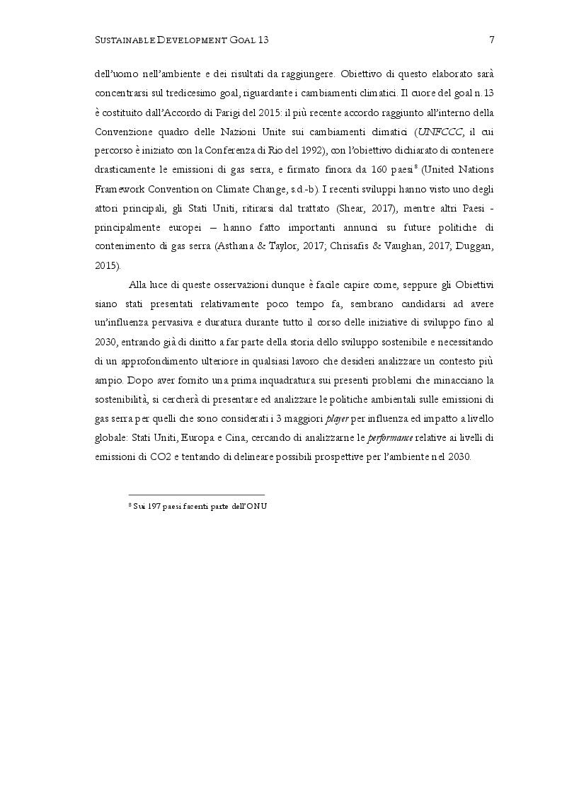 """Anteprima della tesi: Sustainable Development Goal 13: """"Promuovere azioni, a tutti i livelli, per combattere il cambiamento climatico"""". Prospettive per il 2030, Pagina 5"""