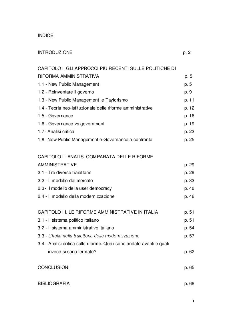 Indice della tesi: Gli approcci più recenti sulle politiche di riforma amministrativa. New Public Management e Governance, Pagina 1