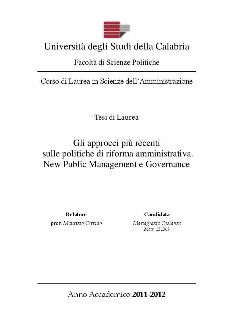 Anteprima della tesi: Gli approcci più recenti sulle politiche di riforma amministrativa. New Public Management e Governance, Pagina 1